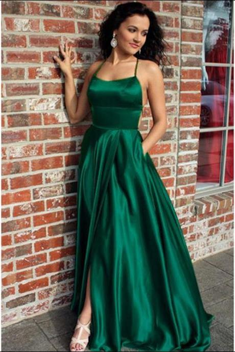 Sexy Dark Green Prom Dresses with Criss-Cross Straps Fashion Slit Evening Gowns