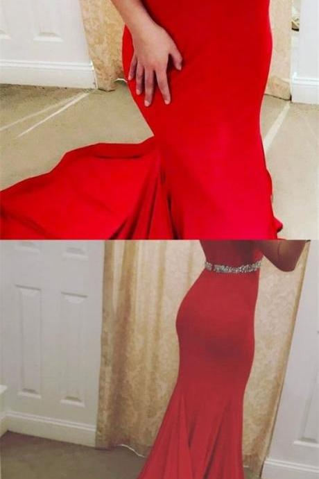 elegant off the shoulder prom dresses, red prom dress with beading, bodycon stretch satin red party dress with sweep train