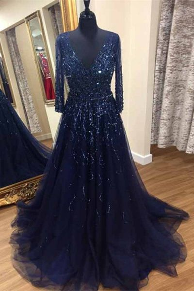 A-Line Deep V-Neck Prom Dresses,Sweep Train Navy Blue Beaded Prom Dress, modest navy blue long prom dresses, unique evening gowns with sleeves