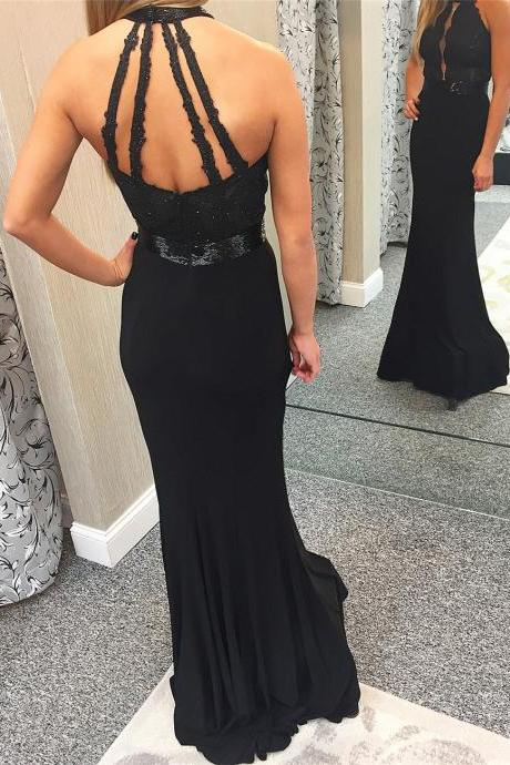 Black Mermaid Prom Dress, Sexy Beaded Appliques Prom Dresses, Long Evening Dress,Evening Dresses,Long Prom Dresses, Formal Evening Gown