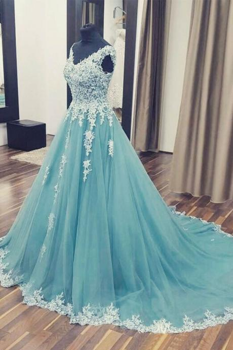 Appliques Tulle Wedding Dresses, Sexy Sleeveless Wedding Dresses, Long Ball Gowns, Formal Evening Dress,Bridal Dresses,Long Prom Dresses, Formal Evening Gown