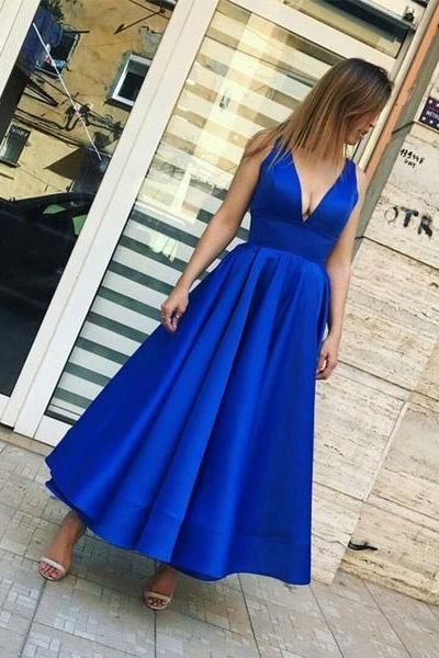 Simple royal blue v neck prom dress,tea length evening dress,Evening Dresses,Long Prom Dresses, Formal Evening Gown