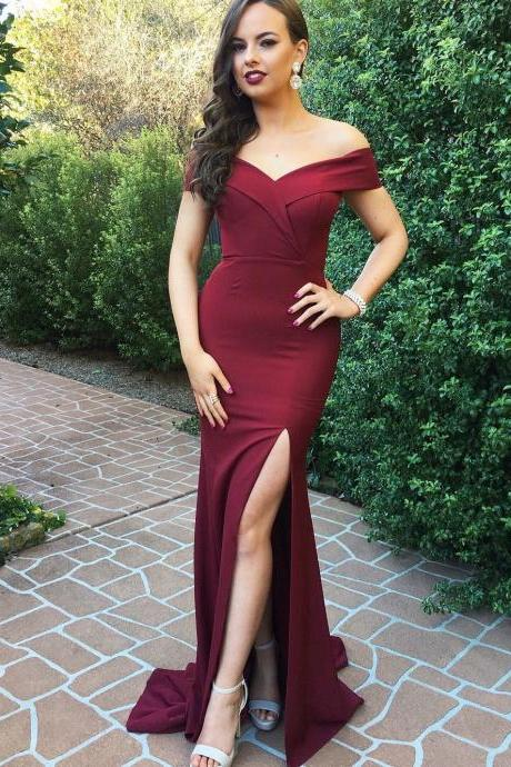 Charming Off Shoulder Mermaid Prom Dress, Sexy Mermaid Evening Dress with Slit, Long Prom Dresses,Evening Dresses,Prom Gowns, Formal Women Dress