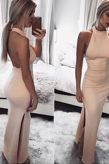 Charming Backless Long Prom Dress, Sexy Sleeveless Evening Dress, Floor Length Halter Prom Dresses