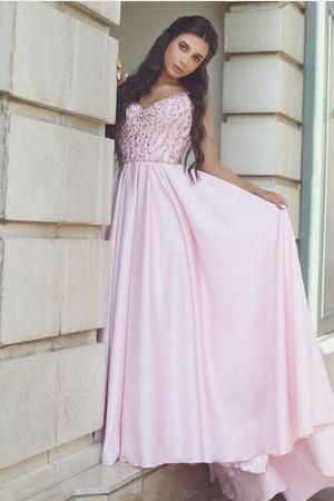 Pretty Pink Satin Evening Gowns Beaded V Neck Long Prom Dresses