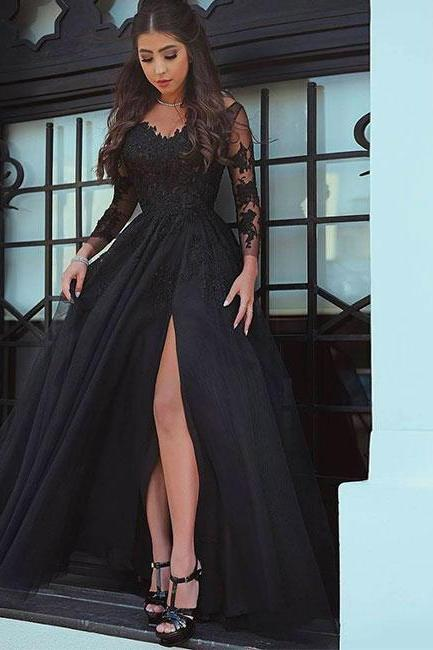 Black chiffon prom dresses,lace long prom dress, black chiffon lace evening dress long evening dress