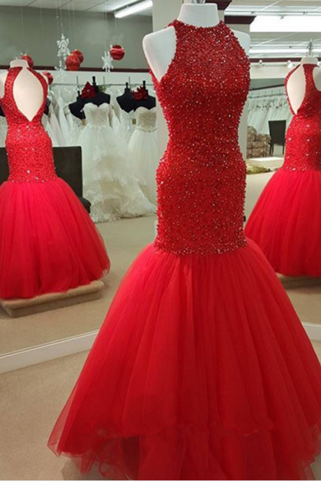 Red Mermaid Prom Dress with Beads,Long prom dresses ,Charming Prom Dress, Sexy Prom Dresses,Tulle Evening Dress