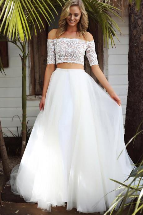 Mermaid Two-Piece Wedding Dress,Off Shoulder Half Sleeves Wedding Dresses,White Tulle Long Wedding Dress,Cheap Bridal Dresses, Lace Evening Dresses,Sexy Prom Dresses,Evening Dress