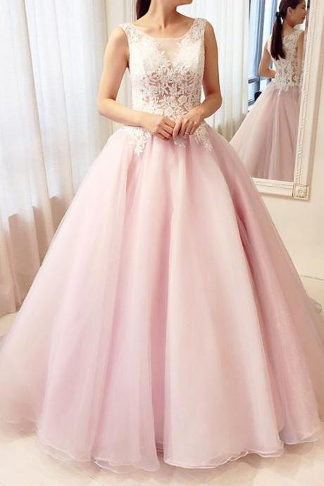 Long Ball Gowns Prom Dresses,Long Formal Gowns for Women,Pink Organa Prom Dresses,Long Sleeveless Women Formal Gowns,Long Sexy Party Dresses,Prom Dresses with Lace Appliques