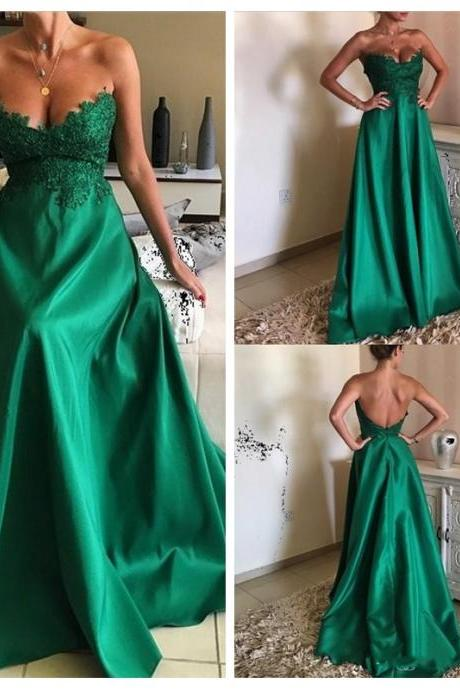Long Green Prom Dresses,Long Formal Gowns for Women,Backless Prom Dresses,Long Sexy Women Formal Gowns,Appliques Long Party Dresses