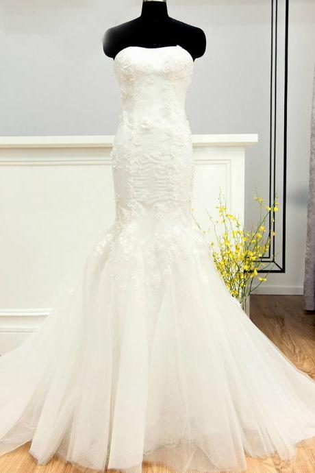Floral Appliques Strapless Floor Length Tulle Mermaid Wedding Dress Featuring Train Cheap Wedding Dresses,Plus Size Wedding Dresses