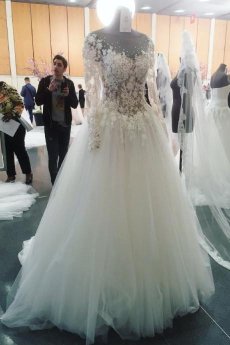 A-line Wedding Dress, Wedding Dress,Wedding Dress,Wedding Gown,Bridal Gown,Bride Dresses, Long Wedding Dress,Lace Wedding Gown,Applique Wedding Gown,Long Sleeves Wedding Dress, Crystal Bridal Dress,See Through Wedding Gown,Floral Wedding Dress,Elegant Wedding Gown