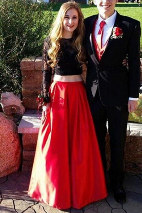 Long Sleeves Black Lace Top With Red Skirt Prom Dresses,Simple Cheap A-line Satin Prom Dresses,Evening Dresses,Modest Prom Dresses
