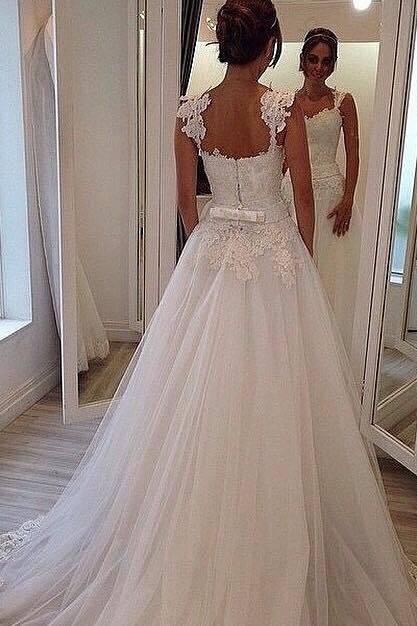 Lace Appliques Sweetheart Shoulder Straps Floor Length Tulle Wedding Gown Featuring Train