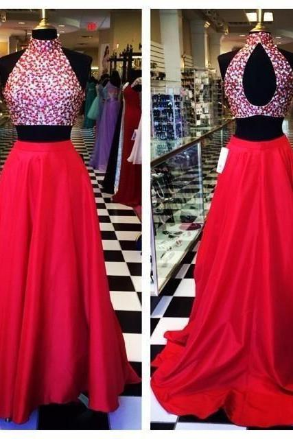 Halter Prom Dresses,Beaded Prom Dress,Two Pieces Prom Dress,Fashion Prom Dress,Sexy Party Dress, New Style Evening Dress,evening dresses,formal dresses