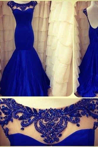 Royal Blue Prom Dresses,Beaded Prom Dress,Mermaid Prom Dress,Fashion Prom Dress,Sexy Party Dress, New Evening DressR,evening dresses,formal dresses