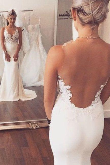 Sheer Straps Wedding Dress,Lace Wedding Dresses,Mermaid Prom Dress,Fashion Bridal Dress,Sexy Wedding Dresses, New Evening Dress