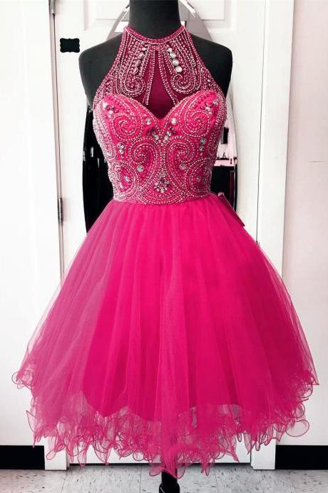 Homecoming Dresses,high neck homecoming dresses,hot pink prom dresses,chic party dress,women's cocktail dress