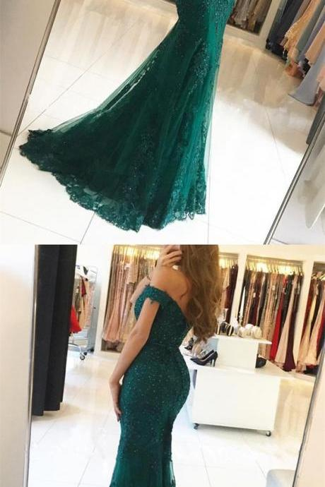 dark green lace prom dresses,off the shoulder evening gowns,emerald green prom dress,mermaid prom dresses