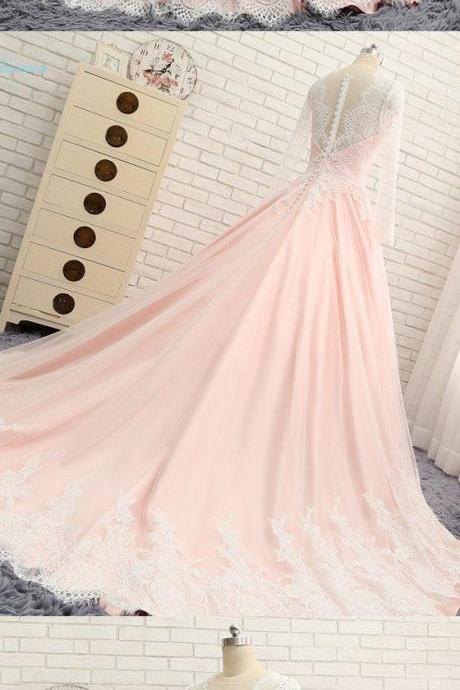 Long Sleeves V Neck Applique Blush Cheap Long Evening Prom Dresses, Prom Gowns,charming Evening Dress,long sleeves prom Dress