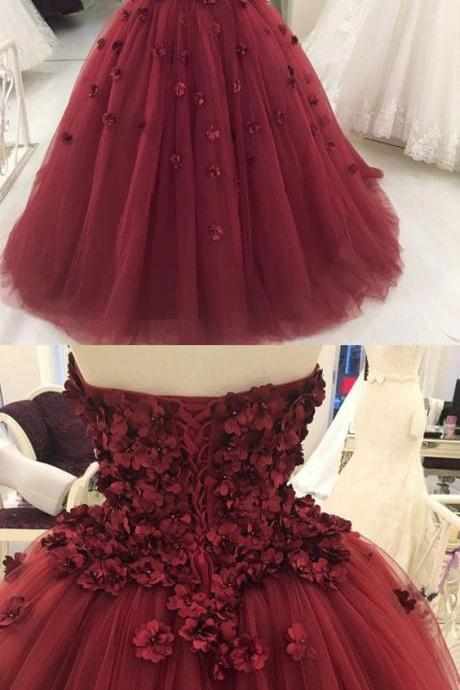 Prom Dresses,quinceanera dresses,burgundy quinceanera dresses,sweet 16 dress,sweet 15 dress,flower ball gowns