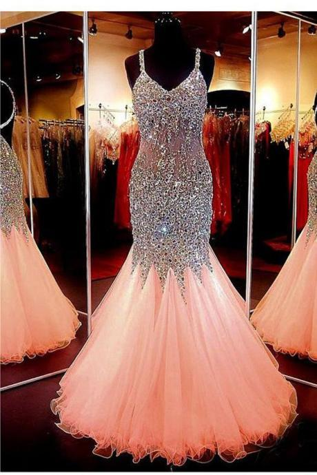 Pretty Sweetheart Neckline Evening Dress,Mermaid Prom Dresses,Open Back Beading Prom Dress Evening Dresses