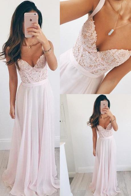 Beautiful V-neck Long Chiffon Baby Pink Long Prom Dress Evening Dress