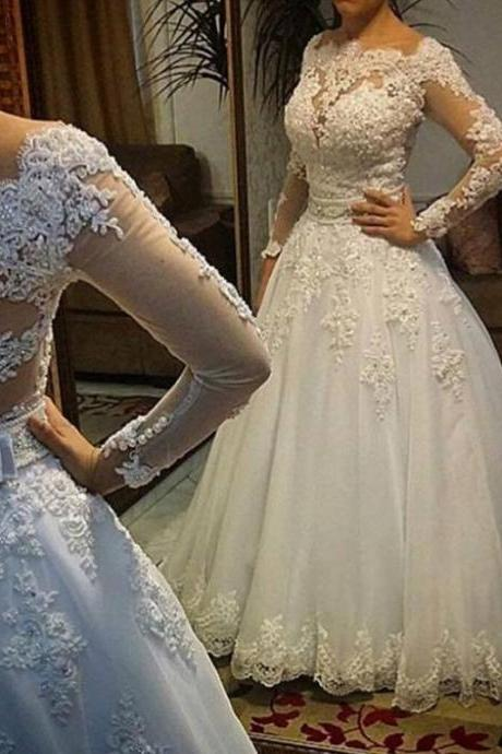 Long Sleeve Wedding Dress, vestidos de noiva Ball Gown, Bridal Gown, Luxurious Wedding Dresses for Brides