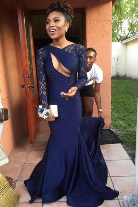 Sexy Prom Dress Formal Women Evening Gown,Prom Dresses,navy blue lace prom dress,Sexy Evening Gowns,Evening Gown,Party Dress,Satin Formal Gowns For Teens