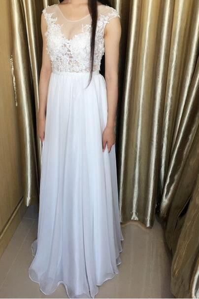 Beautiful Custom Made White Chiffon Long Prom Dresses with Lace Applique, White Prom Dresses, Long Prom Dresses