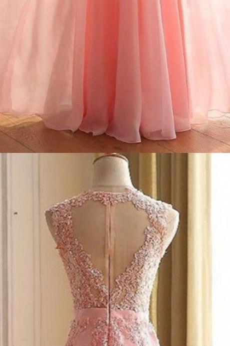 Prom Dresses,Lace Appliques Prom Dresses, Floor Length Prom Dress, Formal Dresses, A-line Sleeveless Zipper Back Chiffon Lace Prom Dresses