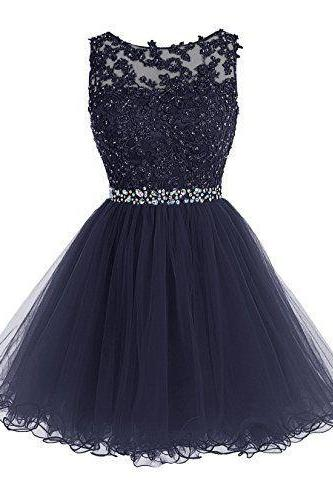 Homecoming Dresses,Cute Party Dress,Tulle Homecoming Dress,Short Prom Dress,Navy Blue Homecoming Gowns,Beaded Sweet 16 Dress
