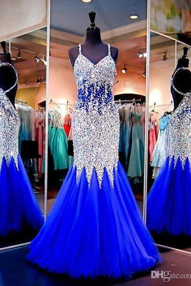 Royal Blue Evening Dresses,Royal Blue Prom Dress,Silver Beaded Formal Gown,Mermaid Beadings Prom Dresses,Evening Gowns,Tulle Formal Gown For Senior Teens