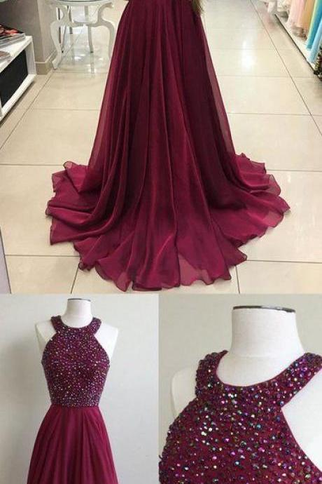 Gorgeous Wine Red Chiffon Prom Dress Burgundy Prom Dresses