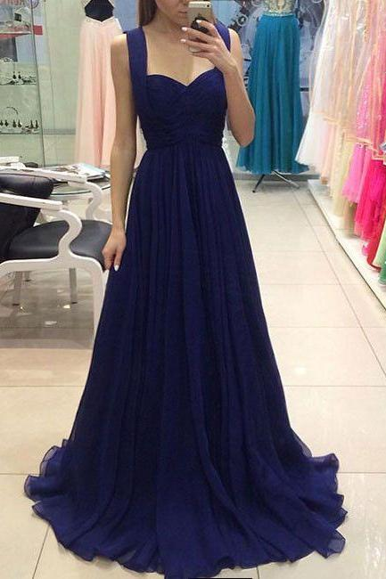 Prom Gown,Royal Blue Prom Dresses,Royal Blue Evening Gowns,Party Dresses,Chiffon Evening Gowns,Formal Dress For Teen