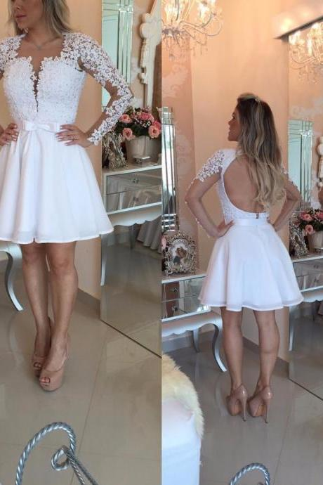 Long Sleeve Lace White Short Party Dress,Popular Homecoming Dresses,Prom Dresses,Evening Gowns,Formal Gown For Teens