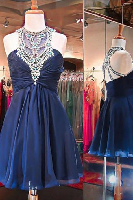 Navy High Neck Homecoming Dresses, Rhinestone Party Dresses, Chiffon Homecoming Dresses, Homecoming Dresses, Juniors Homecoming Dresses