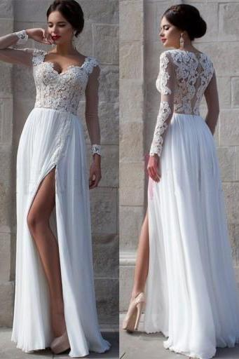White Wedding Dresses,Long Sleeves Wedding Gown,Lace Wedding Gowns,Slit Bridal Dress,Princess Wedding Dress,Beautiful Brides Dress,Chiffon Wedding Gowns For Spring Summer