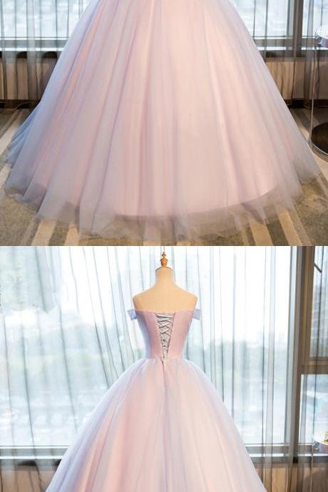 princess strapless off shoulder flower long tulle prom gown, formal evening dress,Long Evening Dress,Elegant Prom Dresses,Floor Length Homecoming Dress