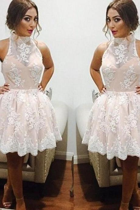 Halter Lace Short Prom Dress,Cocktail Dress,Graduation Dresses,Homecoming Dresses