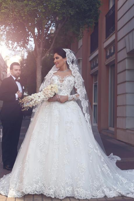 Saudi Arabic Wedding Gown, Lace Wedding Dresses,Long Bridal Dress