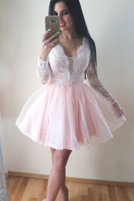 Pale Pink Homecoming Dress,Light Pink Short Prom Dress,Long Sleeves Pink Lace Homecoming Gown,Party Dresses, Evening Dresses