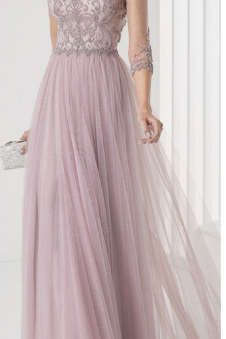 Pink grey long-sleeved prom dress,evening dress, this is a ball gown formal dresses,Party Dresses, Evening Dresses