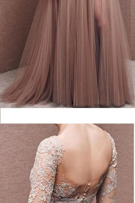 Charming Prom Dress,Tulle Prom Dress,Half-Sleeves Prom Dress,Appliques Evening Dress,Party Dresses, Evening Dresses