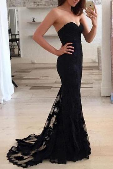 Mermaid Prom Dresses,Black Lace Prom Dress,Prom dress,Modest Evening Gowns,Cheap Party Dresses,Graduation Gowns