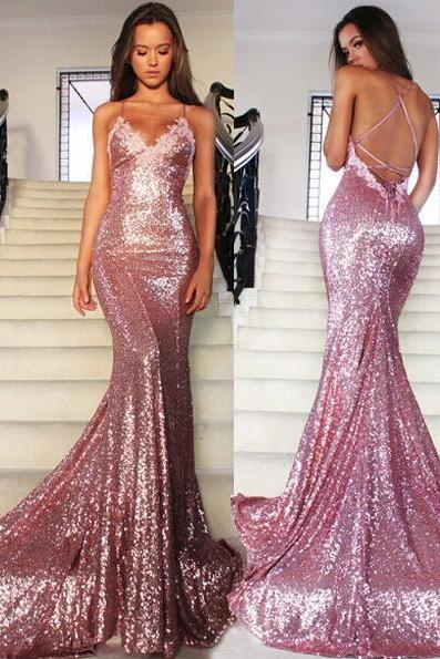 Sequin Prom Dress,Prom Dress,Backless Evening Gown,Long Formal Dress,Sequined Prom Gowns,Open Backs Evening Dresses For Teens,Party Dresses, Evening Dresses