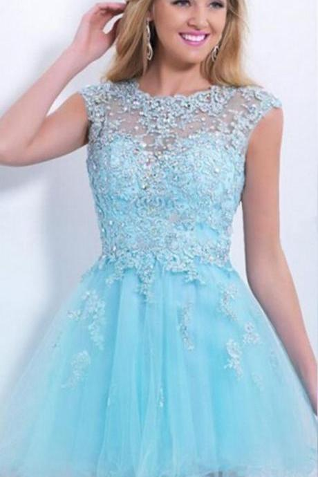Blue Lace Homecoming Dress,Blue Homecoming Dresses,Fitted Homecoming Dress,Short Prom Dress,Homecoming Gowns,Cute Sweet 16 Dress For Teen