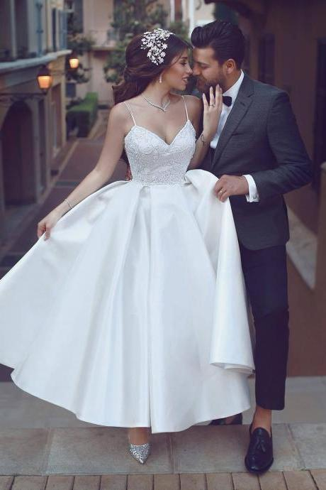 Tea length Informal Wedding Dress,Spaghetti Straps Short Bridal Dress,Lace Wedding Dresses,New Prom Gowns,Evening Gown,Backless Party Dresses