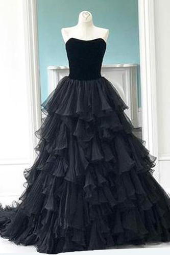 Princess black tulle evening dresses,sweetheart neck long multi-layer evening dress, prom gown