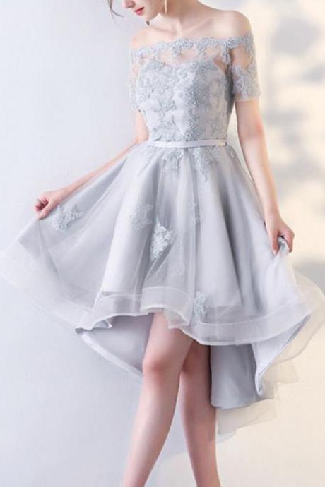 Silver Grey Off The Shoulder Binding Mini Dress,High Low Evening Dress,Sexy Short Sleeves Prom Dresses